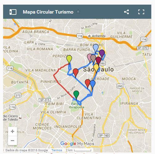 Rota do ônibus de turismo em São Paulo